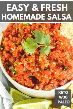 Fresh homemade salsa made with simple ingredients that's better than store-bought. It only takes 5 minutes to make and can be used for dipping or as a topping. Keto, Whole30, Paleo, and Gluten-Free.#salsa #homemadesalsa #freshsalsa #whole30 #ketorecipes #paleo #dairyfree