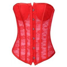 Red Sheer Lace Corset - OL1251-2