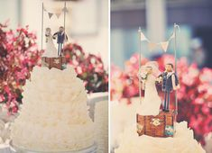 Love the detail on the cake topper! | Emily and Christopher's Wedding