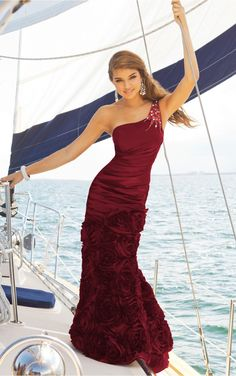 Burgundy Sheath Floor-length One Shoulder Dress [Dresses 10113] - $191.00 :