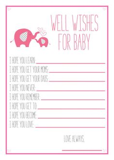 Pink Elephant Baby Shower, Printable Well Wishes For Baby, Baby Shower Diy, Pink…