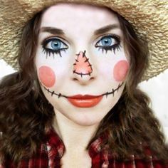 My first ever Halloween tutorial :) In this video I show you how to transform yourself into a spooky cute scarecrow. I also share how to put toge. Diy Scarecrow Costume, Scarecrow Halloween Makeup, Halloween Makeup Looks, Costume Ideas, Halloween Costumes, Halloween 2020, Halloween Stuff, Halloween Ideas, Halloween Party