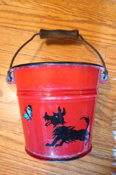 Vintage Scottie Tin Sand Pail Bucket with Wooden Handle by TimeWas,