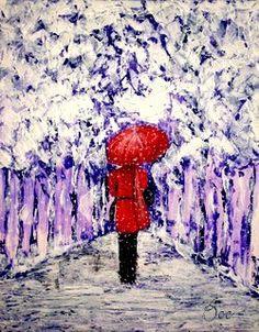 Acryl/Canvas 40 cm x 50 cm x 1,5 cm Winterspaziergang 470,- Euro
