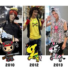 Happy Throwback Thursday! This week's picture shows the evolution of #tokidoki fan and NYCC-goer Kevin who has cosplayed as tokidoki characters in 2010, 2012 and 2013! Which costume do you like best?