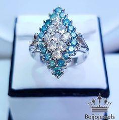 Blue & White Diamonds Engagement Ring Round Cut White Gold Finish  2.15 CT #beijojewels #SolitairewithAccents #EngagementRingWeddingRingDailyWear