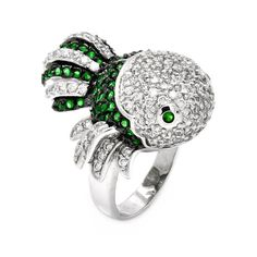 925 Sterling Silver Ladies Jewelry Green And Clear Cubic Zirconia Silver Fish Ring Measurement: 25.9mm X 29.1mm: Size: 5