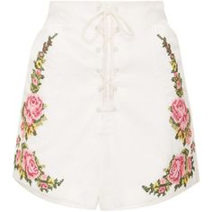 Alice McCall West Coast Shorts (137.725 CLP) ❤ liked on Polyvore featuring shorts, white, high-rise shorts, embroidered shorts, high waisted shorts, highwaist shorts and white shorts