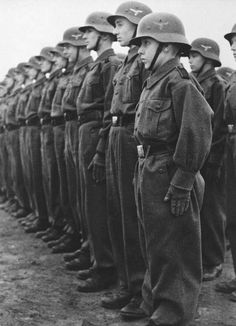 Members of the Hitler Youth in the Luftwaffe auxiliary service in training. Germany. February 1943.