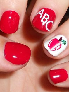 Back to school nail art with apple, red polish and Abc