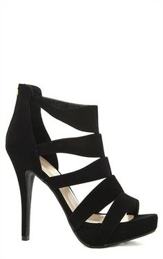 Deb Shops Open Toe Platform High Heels with Cutouts $25.83