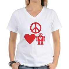 Peace Love and Robots v2 T-Shirt