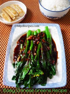 {Chinese Recipes} Easy Chinese Vegetables (Kai Lan). Quick and Easy Chinese Vegetarian recipe made under 15-minutes. Step-by-step photo instructions. @MijoRecipes