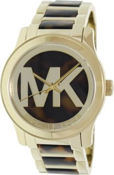 Michael Kors Watches : Michael Kors Womens Runway Tortoise Acetate and GoldTone Stainless Steel Bracelet Watch - Read more at the image link. - Watches Topia - Watches: Best Lists, Trends & the Latest Styles Elegant Watches, Stylish Watches, Watches For Men, Wrist Watches, Brand Name Watches, Fossil Watches, My Collection, Gift Store, Stainless Steel Bracelet