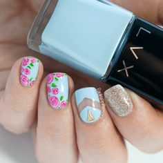 Hey there lovers of nail art! In this post we are going to share with you some Magnificent Nail Art Designs that are going to catch your eye and that you will want to copy for sure. Nail art is gaining more… Read more › Nail Art Designs 2016, Flower Nail Designs, Simple Nail Art Designs, Nail Designs Spring, Rose Nail Art, Floral Nail Art, Rose Nails, Flower Nails, Ongles Baby Blue