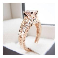 354fb46128e7 Vintage Anillo Solitarios 14K oro rosa morganita anillo Vintage rosa anillo  de oro