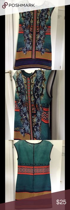 Asian Persuasion Shift Dress Zippers and clasps in back. Vibrant, rich colors ECI Dresses