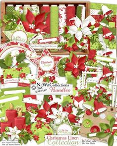 FQB - Christmas Linen Collection - Click Image to Close Digital Scrapbook Paper, Digital Scrapbooking Layouts, Digital Papers, Scrapbook Layouts, Card Making Kits, Christmas Decorations, Holiday Decor, Christmas Printables, Christmas Clipart