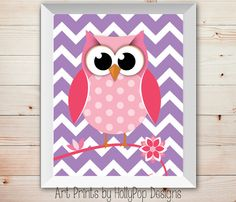 Cute Owl Nursery Decor-Bright Pink Purple-Woodland Owl-Chevron Nursery Decor-Nursery Wall Art-Girls Room Wall Art-Modern Kids Room Decor on Etsy, $15.00
