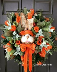 This adorable rabbit has found his way into some carrots and is willing to share with your guests this season. Find him in my Etsy shop! Easter Projects, Easter Crafts, Easter Decor, Easter Ideas, Easter Centerpiece, Bunny Crafts, Easter Wreaths, Holiday Wreaths, Spring Wreaths