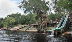 Patrons enjoy the Suwannee River on July at Bob's River Place near Branford, Florida. Owner Bob Hawkins calls the place a swimming hole, unlike a water park, it doesn't have chlorinated water or concrete slides and ramps. Beautiful Places To Visit, Great Places, Places To See, Old Florida, Florida Travel, Weekend Trips, Day Trips, Park Resorts, Swimming Holes