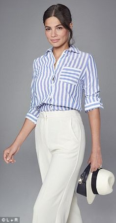 M&S sells a similar stripe blue shirt for just that can be paired with Topshop trousers for a relaxed look Blue Striped Shirt Outfit, Blue Shirt Outfits, Blue And White Shirt, Viernes Casual, Givenchy Shirt, Professional Outfits, Chic Outfits, Beautiful Outfits, Shabby Chic