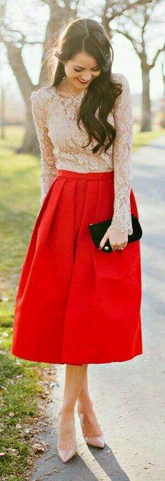 Love the length, color, and silhouette of the skirt. Love the lace, too!