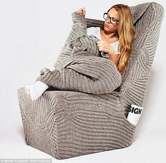 The Chair you can Wear  The concept even has buttons so that owners can button themselves in for a evening, rather like a knitted cardigan