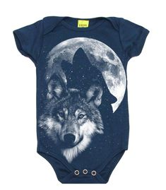 3ba5d9bcf119 Glow In The Dark Howling Wolf Full Moon Baby Bodysuit