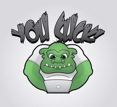 Green Grumpy Troll at laptop