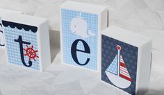 Nautical Baby Block Letters . Blue and White with Red . Nate. $7.00, via Etsy.
