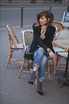 Fashion Mode, Look Fashion, Fashion Outfits, Womens Fashion, Parisian Style, Her Style, Short Hair Styles, Casual Outfits, Street Style