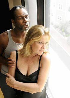 Kate Mulgrew and John Douglas Thompson rehearsing for Antony and Cleopatra at the Hartford Stage in 2010.