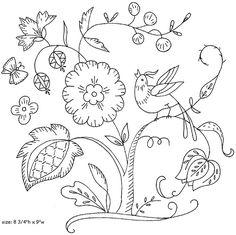 Árbol con flores y pájaro. Cuadrado