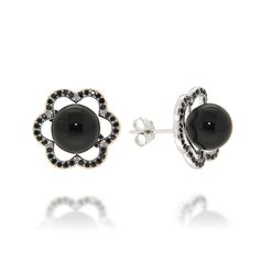Black onyx and spinel flower stud earrings