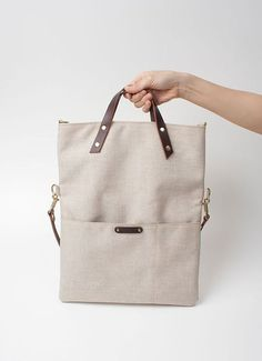 Canvas Folded Messenger Tote Bag with italian leather shoulder straps - Ivory: