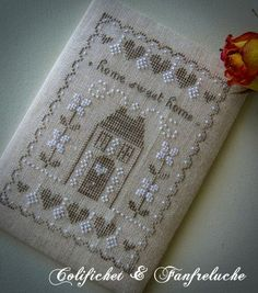 cross stitch sampler love the cream, white and taupe
