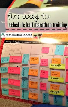 fun way to schedule half marathon training plans PLUS 10 week half marathon training plan via @semihealthnut at semihealthyblog.com