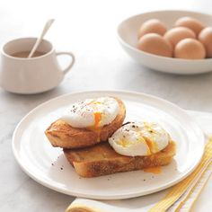 Poached Eggs are served with Whole Wheat Toast, Hot or Cold Cereal, Juice, Milk or Hot Chocolate. What a way to start the day!