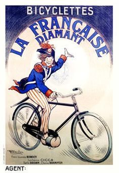 Bicyclettes La Francaise Diamant by Vion 1918 France - Vintage Poster Reproduction. This French transportation poster features a man in uniform on a bike gesturing up to the company name in a circle behind him. Giclee Advertising Print. Classic Posters