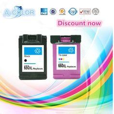 2 Piece for HP650 Compatible Ink Cartridge For HP 650 650XL Black & Tri-color Ink For HP Deskjet 1015 1515 2515 2545 2645 3515