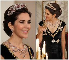 The Royal Order of Sartorial Splendor: Royal Fashion Awards: The Ruby Jubilee Gala Banquet Best Use of a Set Crown Princess Mary Princess Marie Of Denmark, Princess Alexandra, Crown Princess Mary, Royal Crowns, Royal Tiaras, Tiaras And Crowns, Ruby Jewelry, Royal Jewelry, Ruby Necklace