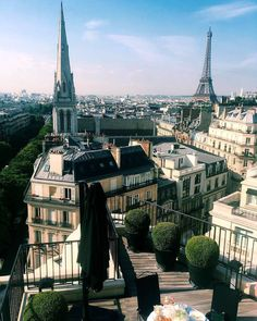 Paris from the rooftop of the Four Seasons Hotel George V, Paris.