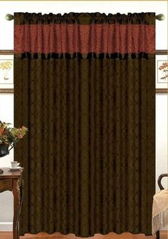 "Soho Window Curtain Chocolate/Reddish Orange-55"" X 90"""