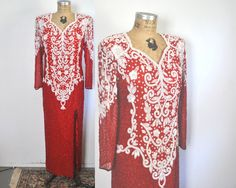 Red and White Sequin Dress Gown / TROPHY cocktail / XL by badbabyvintage on Etsy