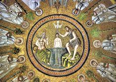 Baptism of Christ - Arian Baptistry - Ravenna 2016 - Gesù - Wikipedia Early Christian, Christian Art, Ravenna Mosaics, Baptism Of Christ, Trinidad, Renaissance, Byzantine Art, Church Architecture, Hagia Sophia