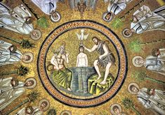 The Baptism of Jesus by St. John the Baptist mosaic, Arian Baptistery, Ravenna, Italy