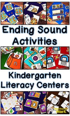 This set of ending sound centers can be used in kindergarten at anytime during the year. These ending sound activities work well for reading intervention, morning work, literacy centers, or guided reading! #kindergarten #literacycenters #phonics #endingsounds #centers
