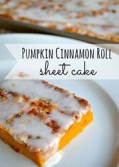Pumpkin Cinnamon Roll Sheet Cake. (Hands down, one of the best sheet cakes you will ever eat... perfect for holiday gatherings too!)