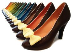 A beautiful rainbow of chocolate shoes by Cacao-lab Milano